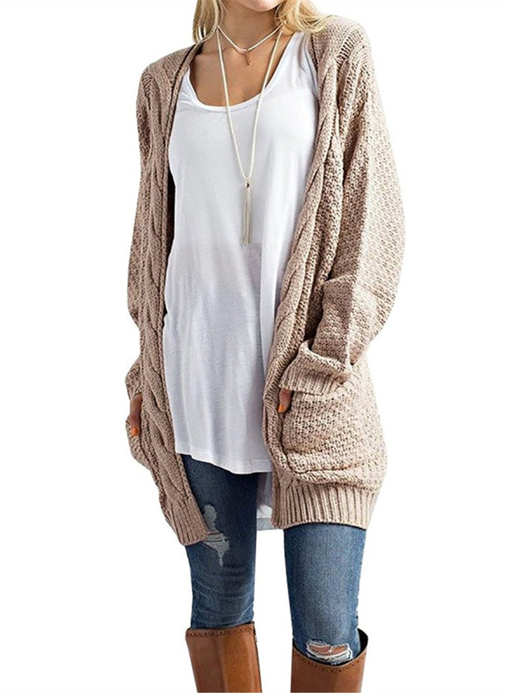 AMAURAS Women Cable Knit Open Front Sweater Cardigan Warm Jacket Coat Casual Outerwear