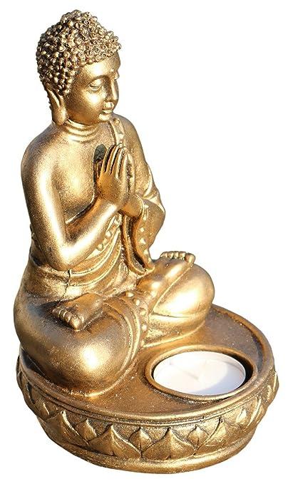 Schöner 18 cm Teelichthalter Buddha Gold Resin Thailand Buddhismus Bali Res17