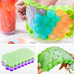 Ice Cube Trays, Silicone Ice Mold with Lids, 2 Packs 74 Cubes Totally Easy Release Flexible Spill-Resistant Stackable Durable BPA Free and Dishwasher Safe (Green & Purple)