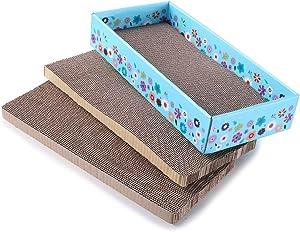 WellQ 3Packs Corrugated Cat Scratcher Cardboard
