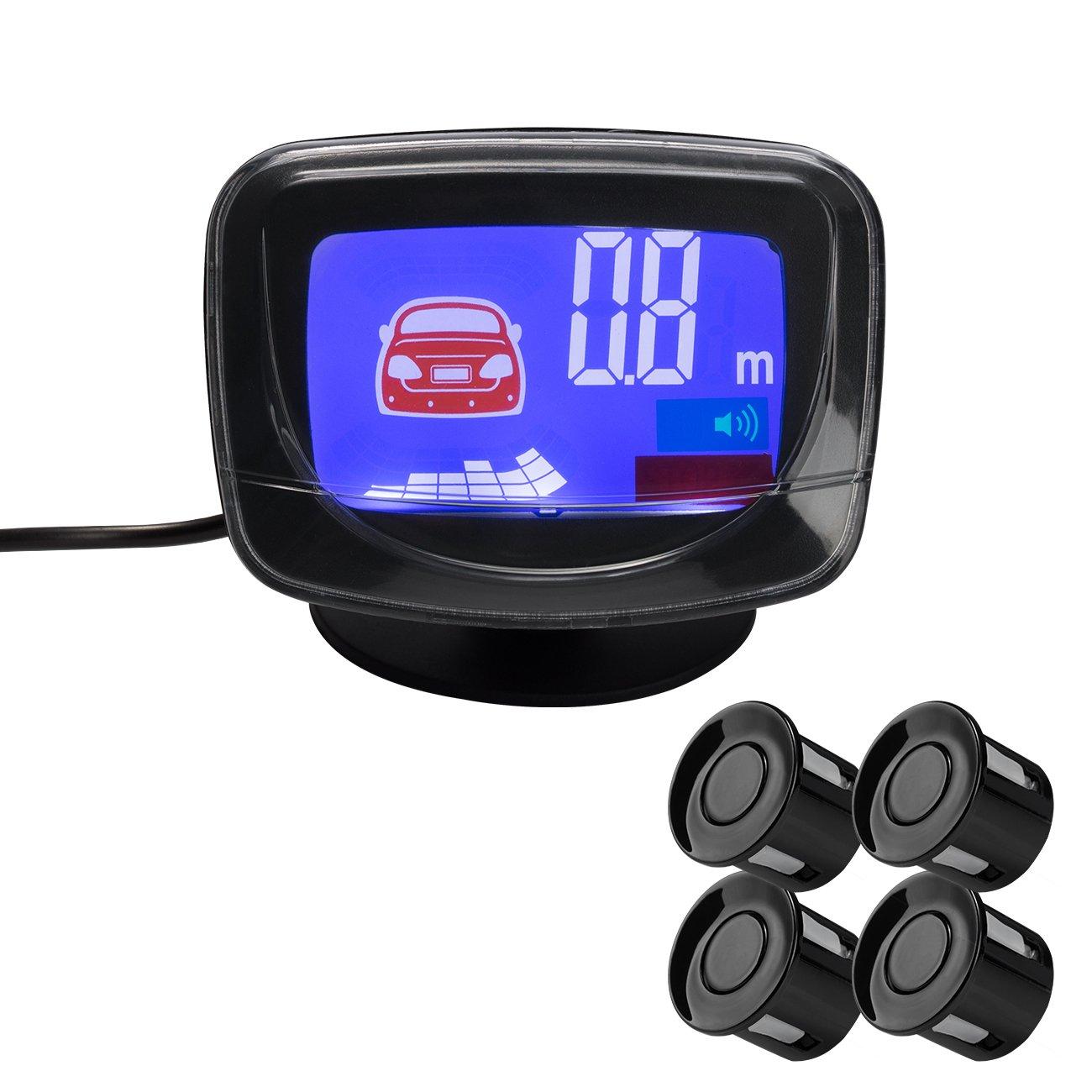 Favoto Car Parking Sensor Reversing Radar Vehicle Backup Detector System with LCD Display Warning Alarm (White) LCD-ReversingRadar-W_US