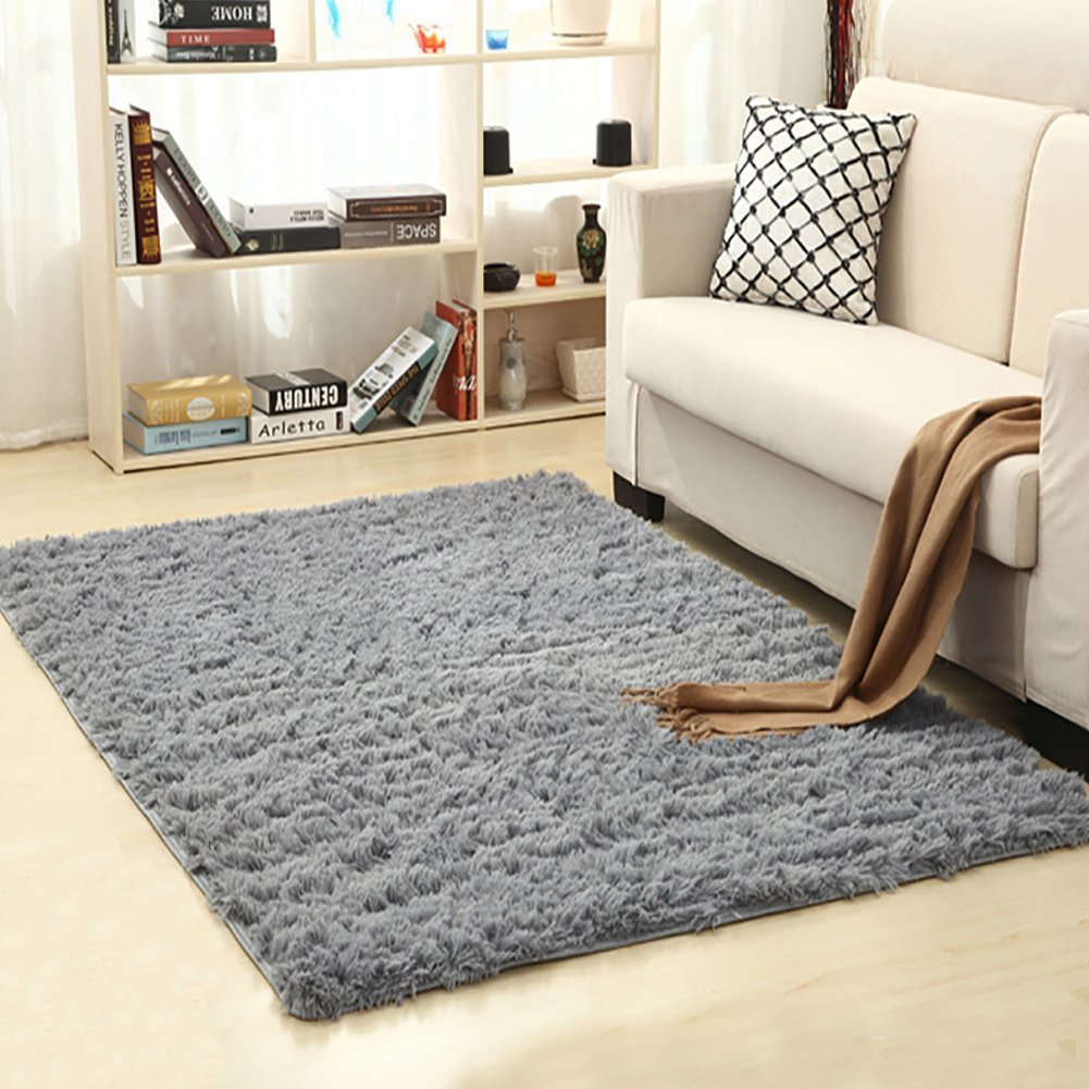 Super Soft Indoor Modern Shag Area Silky Smooth Fur Rugs Fluffy Anti-skid Shaggy Area Rug Dining Living Room Carpet Suitable for Children Bedroom Decor Nursery Rugs 4 Feet by 5.3 Feet (Gray)