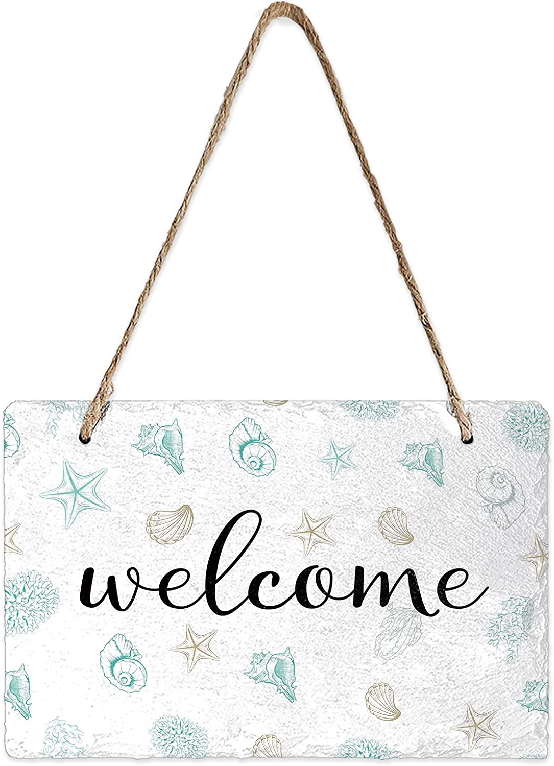 MuswannaA Welcome Wall Hanging Sign Slate Hanging Plaques Welcome Dreamy Starfish Shell Coral Ocean Fresh Elements Welcome Sign Wall Hanging for Front Door Farmhouse Porch Decor Wall Home Decor