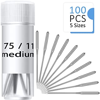 100 Pieces Sewing Needles Home Sewing Machine Needles Size 9, 11, 14, 16, 18, with 10 Needle Bottles, 10 Pieces Per Size, with Labels