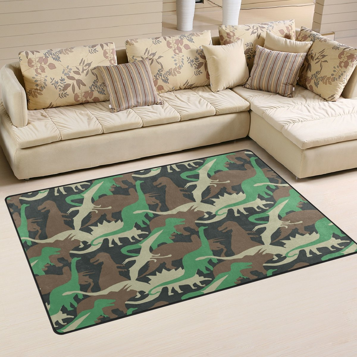 WellLee Area Rug,Camouflage Army Dinosaur Floor Rug Non-slip Doormat for Living Dining Dorm Room Bedroom Decor 31x20 Inch