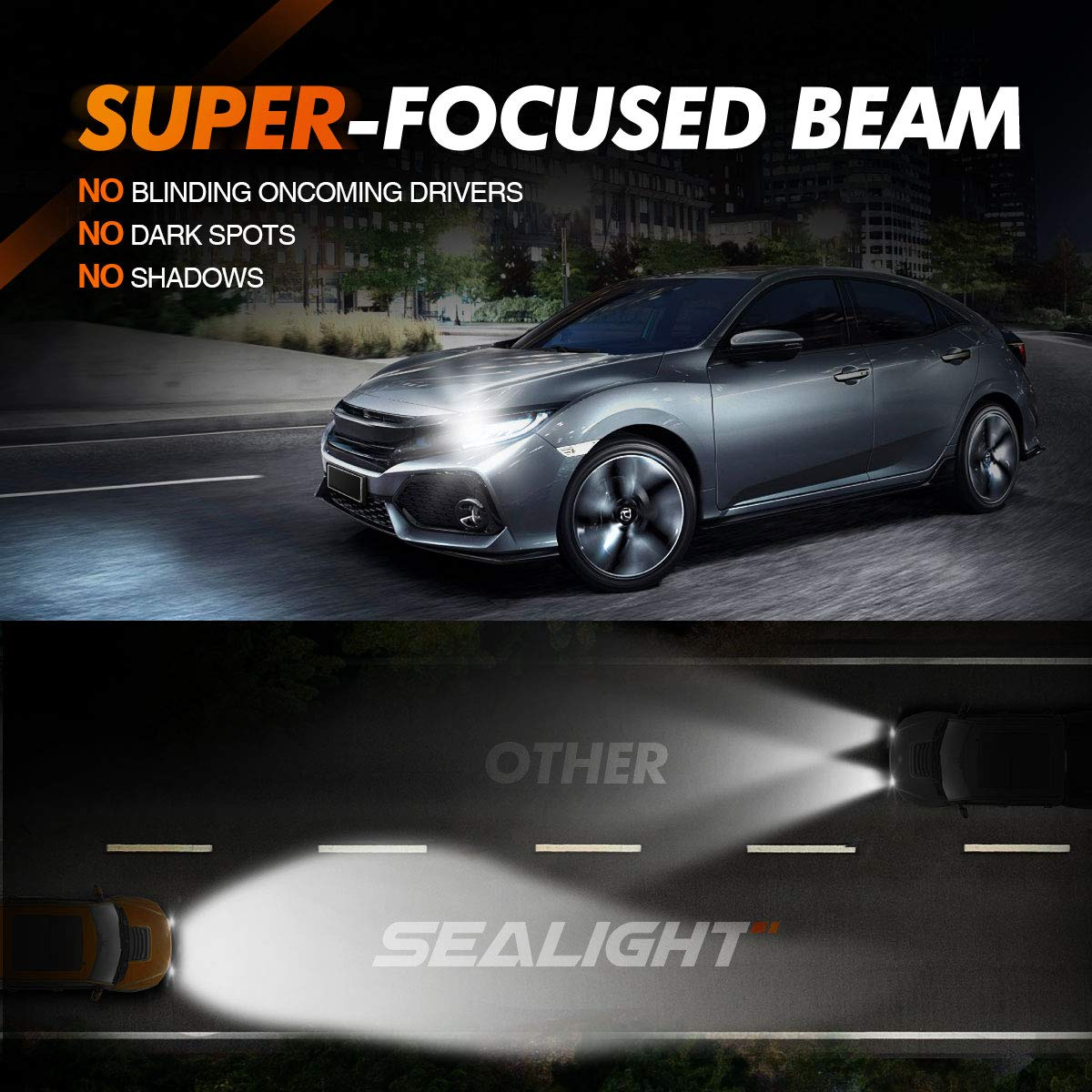 6000K Bright White Low Beam//Fog Light Quick Installation SEALIGHT Scoparc S1 H11//H8//H9 LED Headlight Bulbs Halogen Replacement