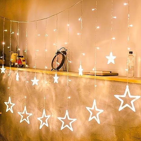 Star Curtain Lights Nikolable LED String 110V 66 X 33ft With 8 Modes