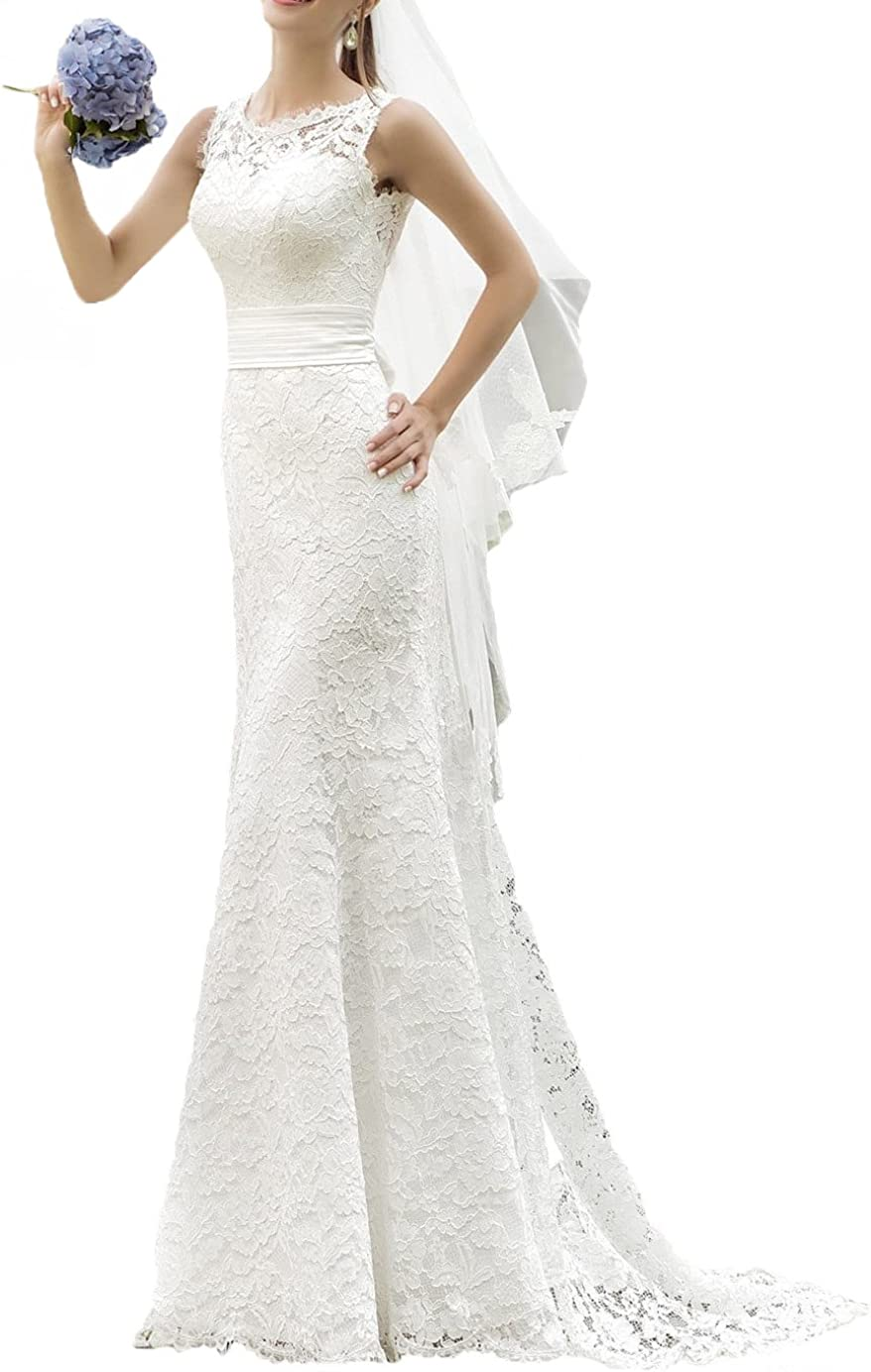 Miao Duo Full Lace Wedding Dresses Bride Elegant Summer Beach Bridal Gowns