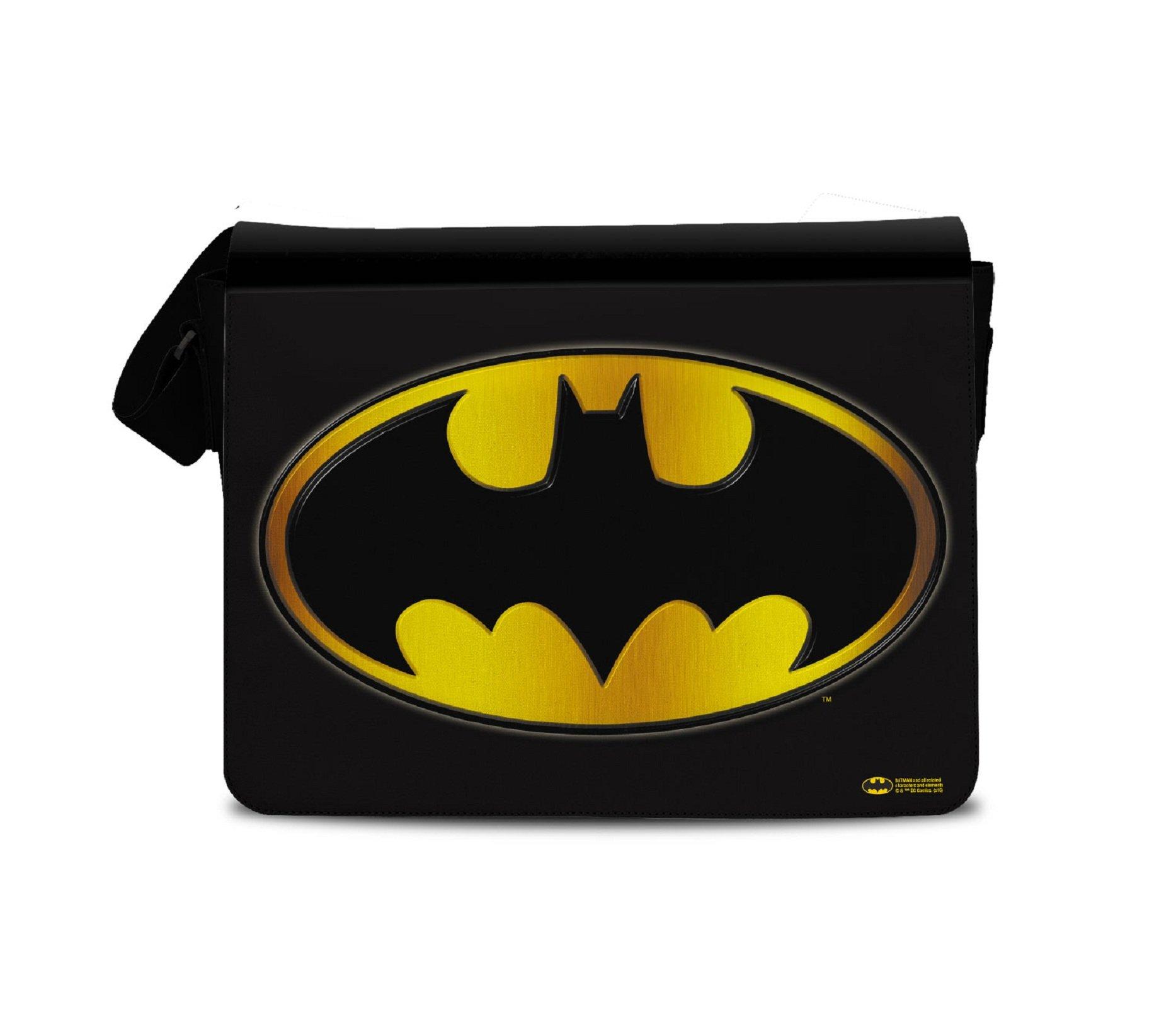 Batman Messenger Bag Gold Logo Official Dc Comics Black by Batman