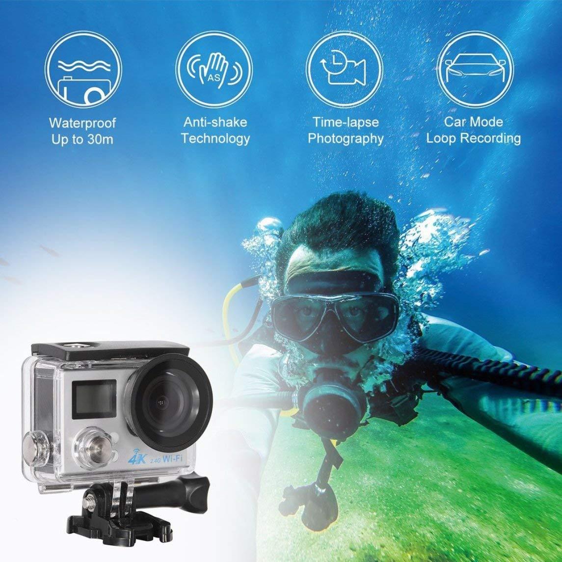 Footprintse G91 4K Ultra HD 1080P Mini wasserdicht WiFi Remote Action Cam Dual LCD Display-Farbe  schwarz