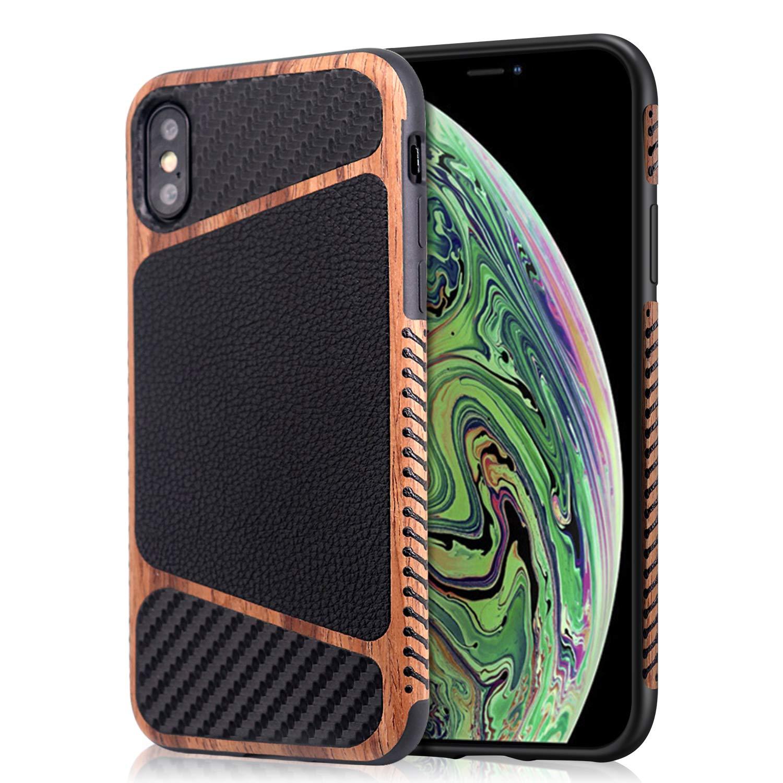 Amazon Com Mthinkor Iphone Xs Max Case Wood Grain Stitching