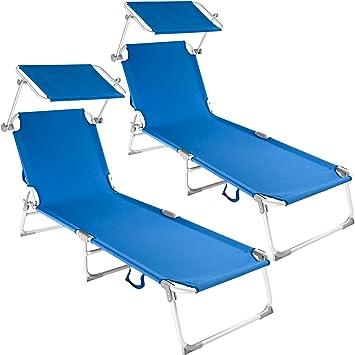 TecTake Conjunto de 2 Cama Hamaca Tumbona Aluminio Plegable con Parasol (Azul | no. 401553): Amazon.es: Hogar