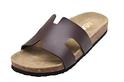 5a869e0a9 Women s Slip On Slide Flat Cork Sandals Open Toe Arizona Cork Footbed  Slippers