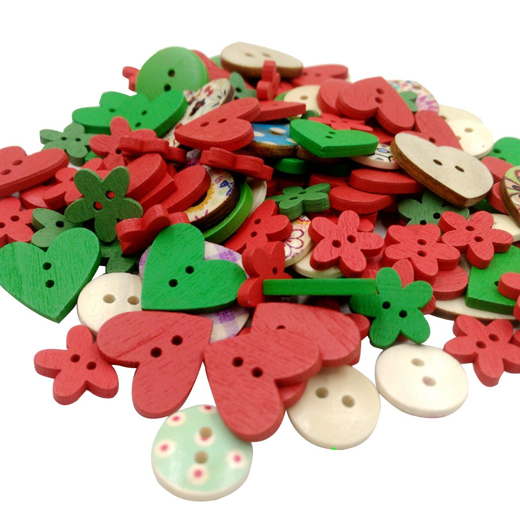 MagiDeal Mixed Color Wooden Buttons Sewing Button Kid's Scrapbooking DIY Craft Wedding Decoration - Christmas, Mixed Size STK0155004760
