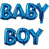 Small Baby Boy or Girl Alphabet Letters Balloons Foil Balloons Mylar Balloons for Party Decoration (Blue Baby Boy)