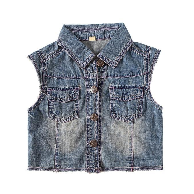 8bfc398ce7d39 Amazon.com  Snowdreams Girls Denim Vest Children Sleeveless Jean ...