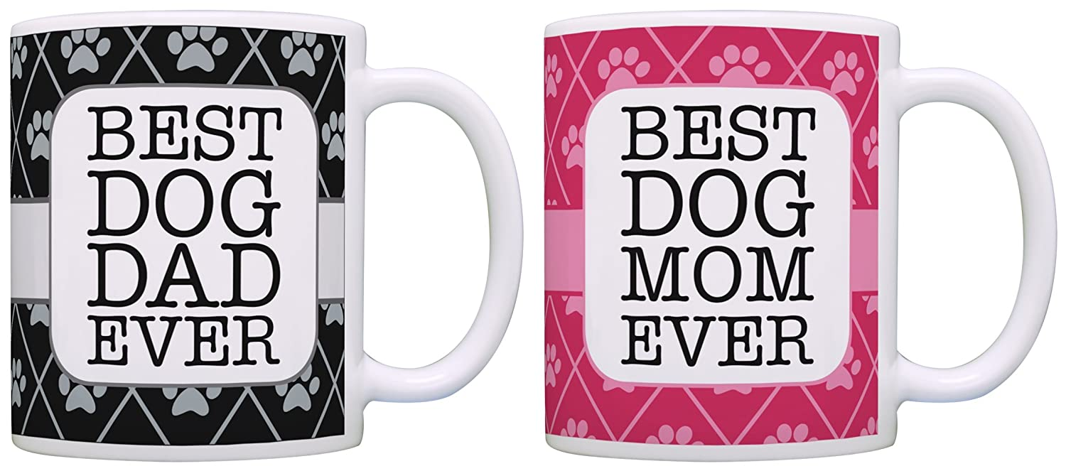 Best Dog Mom and Dad Ever - Mug 2 Pack in Pink and Black