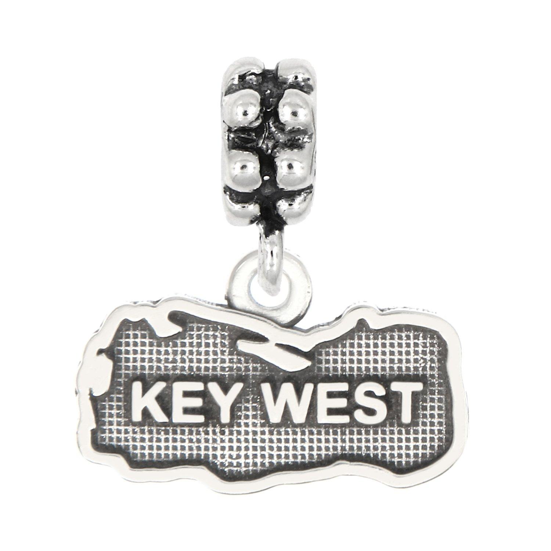 Lgu Sterling Silver Oxidized Key West, Florida Charm -with Options (Dangle Bead)
