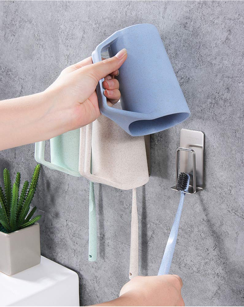 Toothbrush Holder Toothbrush Cup Hang Hook Wall Mounted Stainless Steel Stand With Self-Adhesive 3Pack
