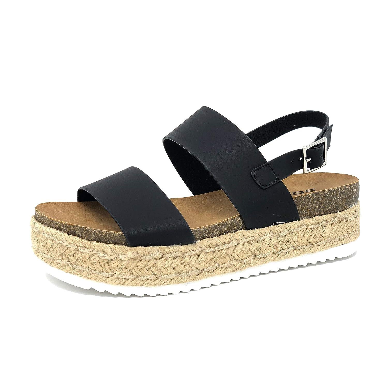 1d21d78a0 Amazon.com | Womens Casual Espadrilles Trim Rubber Sole Flatform Studded  Wedge Buckle Ankle Strap Open Toe Sandals (5.5) | Sandals