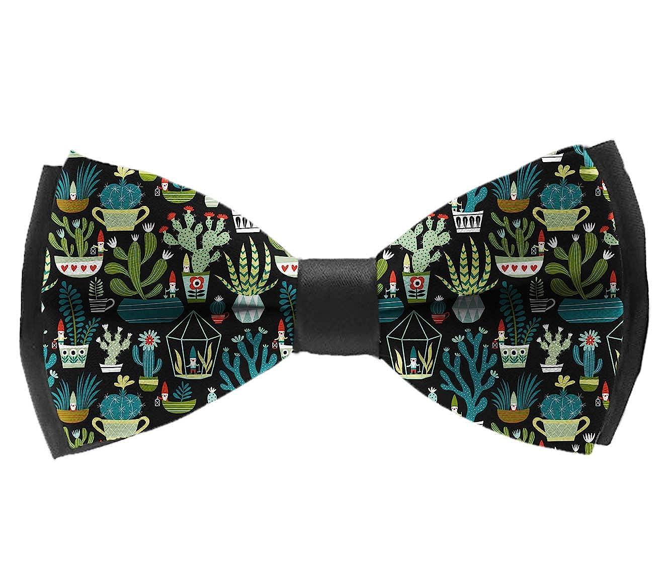 Classic Gnomes Succulents Men Adjustable Pre-tied Tuxedo Bow Tie