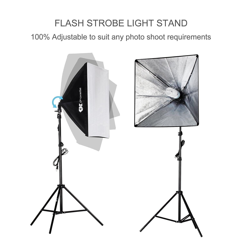 Proxelle 700w Photography Softbox Studio Lighting Kit Three Point Diagram 24x24 Professional Soft Box Light Set Photo Shoot Standing Lights Equipment