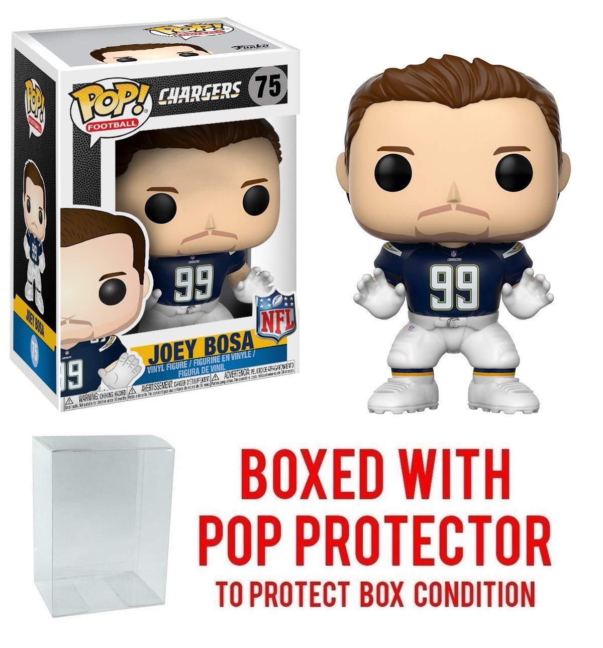 Pop Joey Bosa LA Chargers Vinyl Figure NFL Bundled with Pop Protector