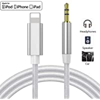 Aux Cable for iPhone 11 Aux Cord for Suitable for Car for iPhone 11pro/X/XS/XR/8/8P 3.5mm Jack Cable for Car Audio,Bluetooth Headphone,Car Stereo Speakers,Adapter Support All iOS System(Silver)
