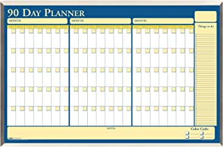 product image for House of Doolittle 90-Day Laminated Aluminum Frame Non-Dated Planner 32 x 21.5 Inch with Write on/Wipe Off Feature, Recycled (HOD6655), Yellow/Blue