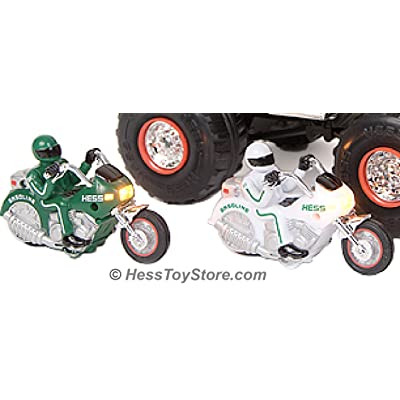 Hess C-46 2007 Monster Truck with 2 Motorcycles, Green and White: Toys & Games