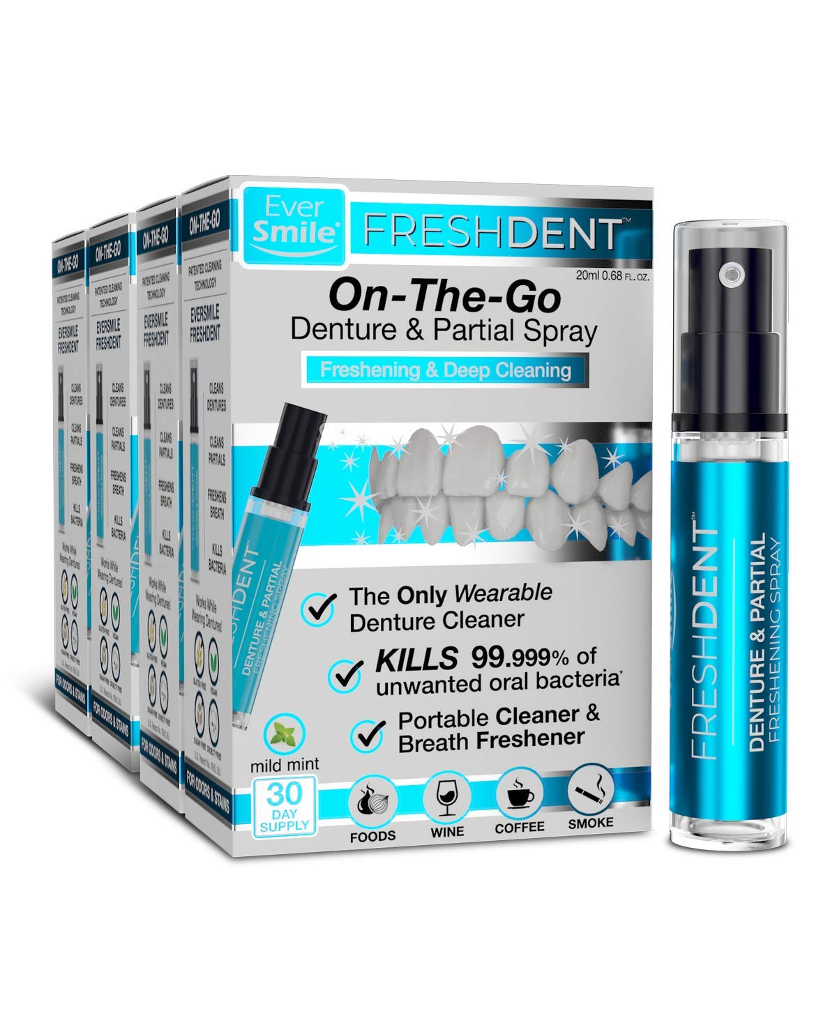 FreshDent Denture & Partial Cleaner - On The Go Dental Cleaning & Teeth Whitening Spray. Kills Bacteria & Freshens Bad Breath Mint Flavored (4pk) by EverSmile
