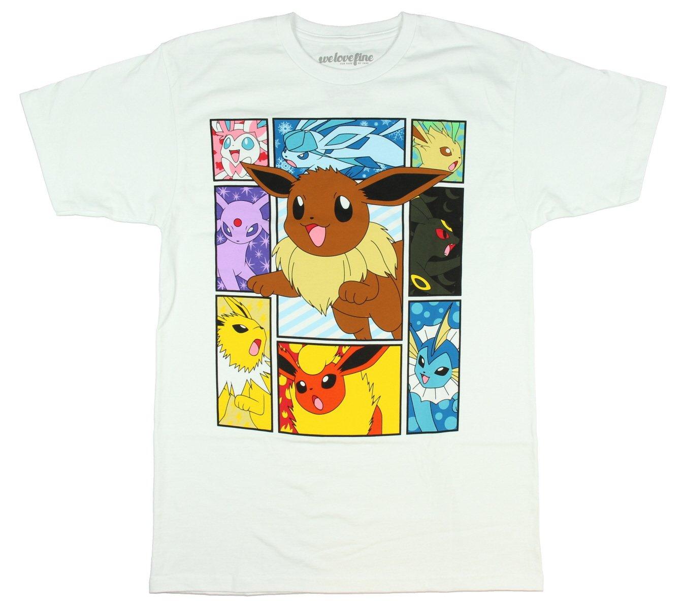 Pokemon Elements Of Eevee T-shirt (Large,White)
