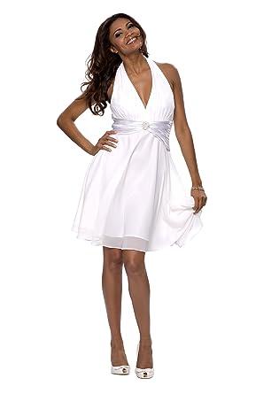 Mit Astrapahl DetailsKnielangEinfarbigGr36Weiß Kleid Cocktail Neckholder Damen jL35AR4