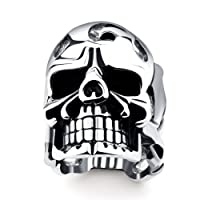 DALARAN Stainless Steel Rings for Men Boys Cool Skull Bands Silver Plated Men's Gothic Ring Men Jewelry