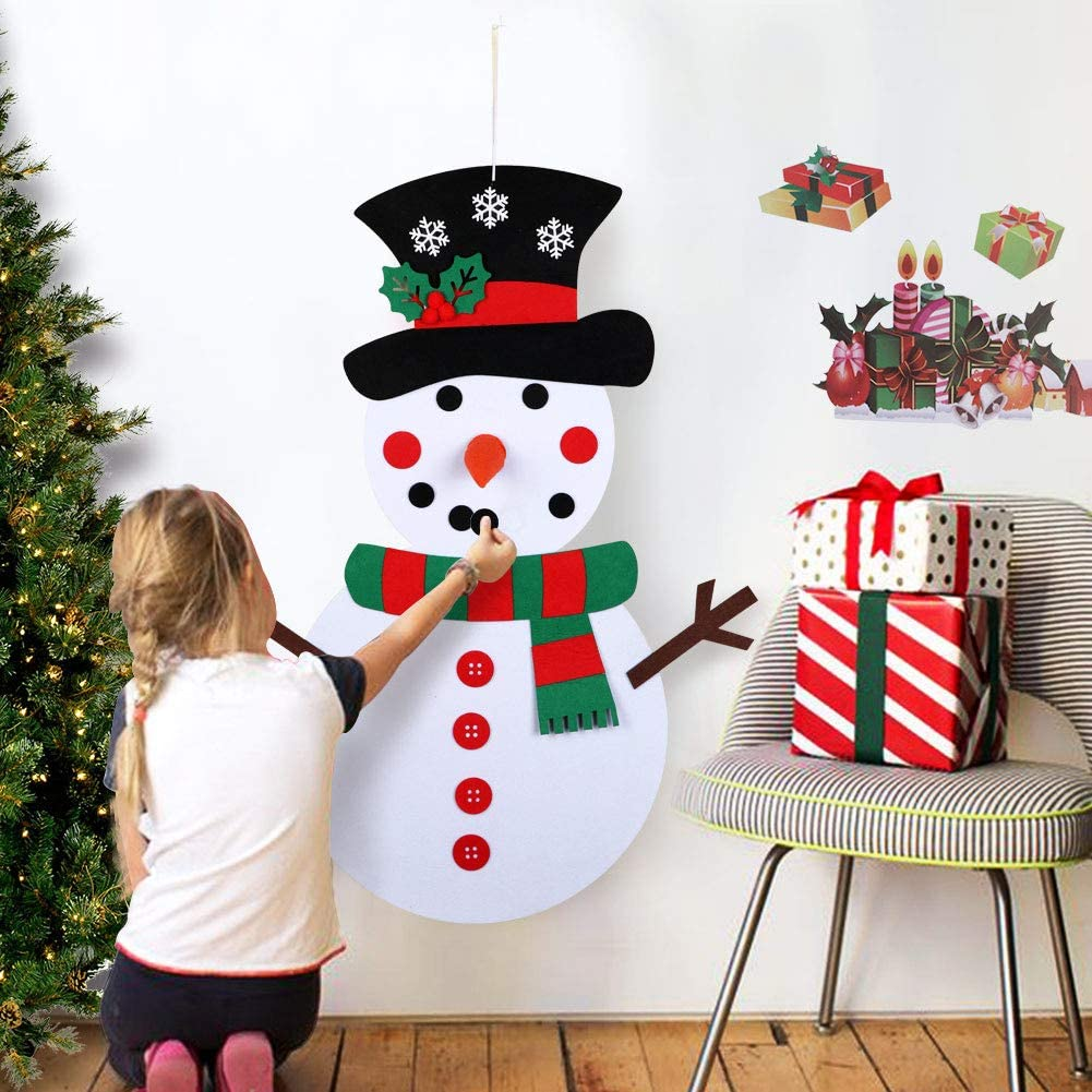 OurWarm DIY Felt Christmas Snowman Game Set with 31 Detachable Ornaments, Wall Hanging Xmas Gifts for Christmas Decorations, 39 x 20 Inch