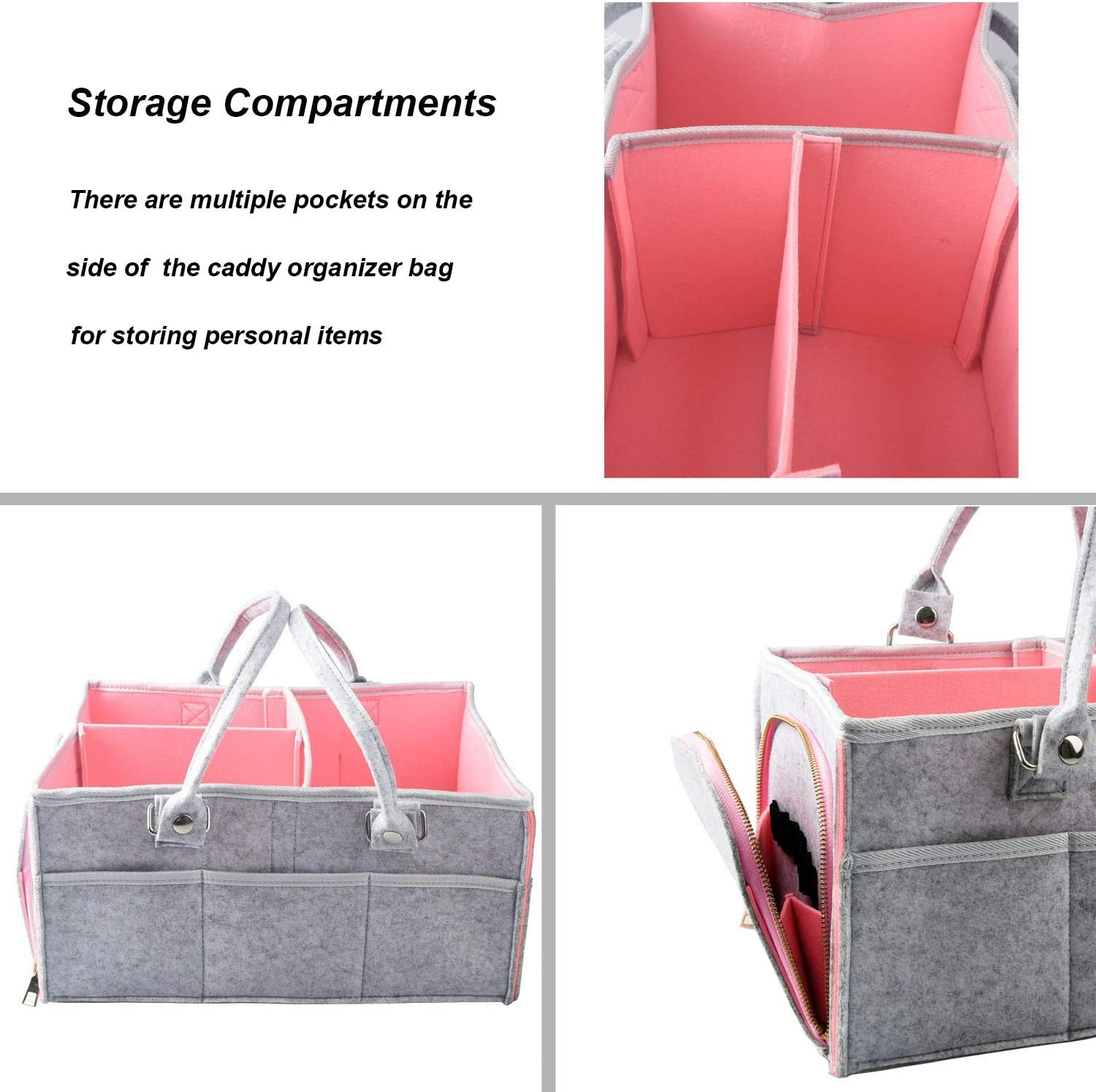 Goldwheat Pink Baby Diaper Caddy Organizer Basket Nursery Storage Bin for Changing Table Car Wide Large Capacity
