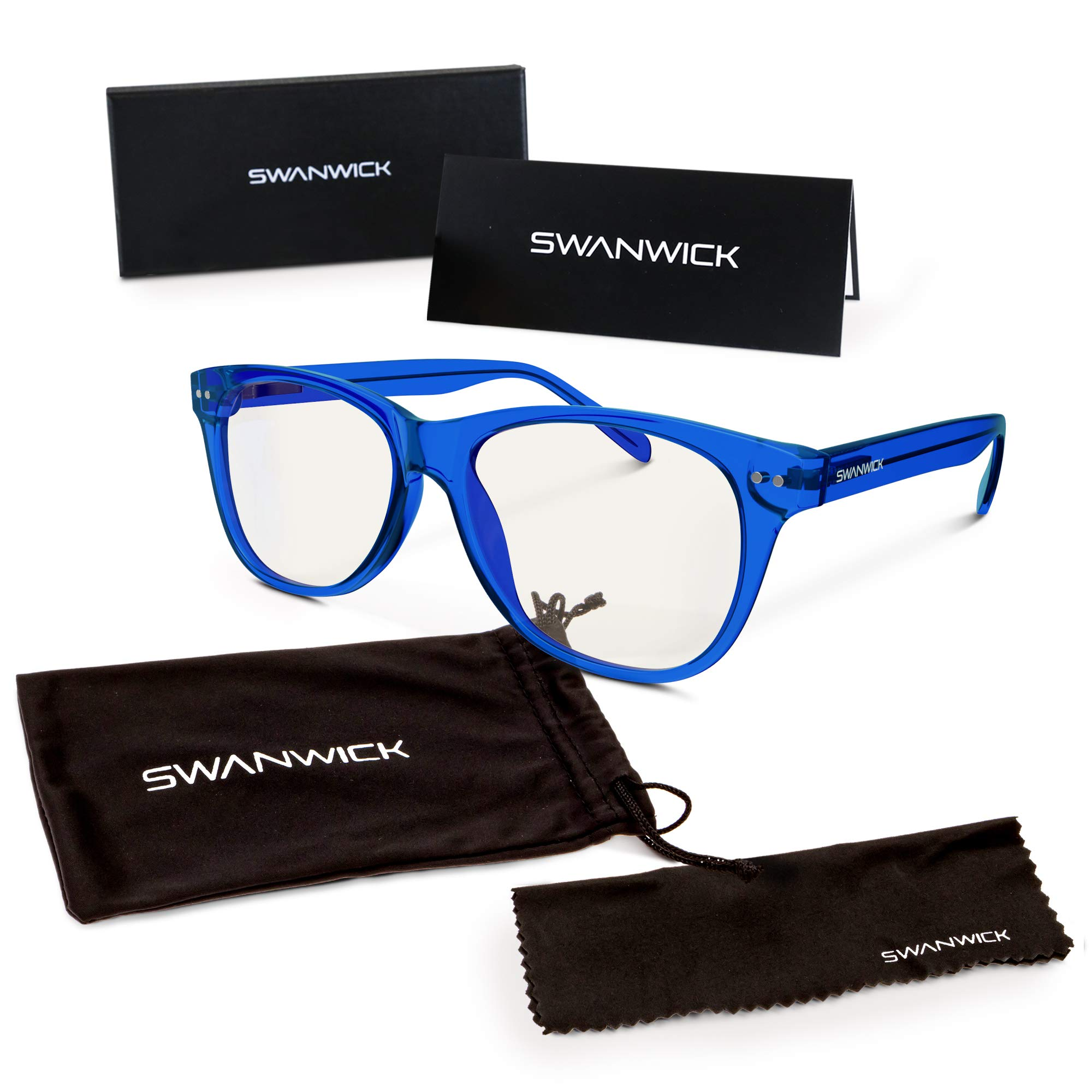 Swannies Premium Daytime Blue Light Blocking Computer Glasses for Gaming, Reading or Work - Dry Eye Relief (Crystal Sapphire) Regular