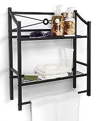 Sorbus Bathroom Shelf with Bath Towel Bar, 2-Tier dark or dark Mount Toilet Storage Shelves