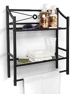 Sorbus Bathroom Shelf with Bath Towel Bar, 2-Tier Freestanding or Wall Mount Toilet Storage Shelves — Organize Bath Essentials, Planters, Books