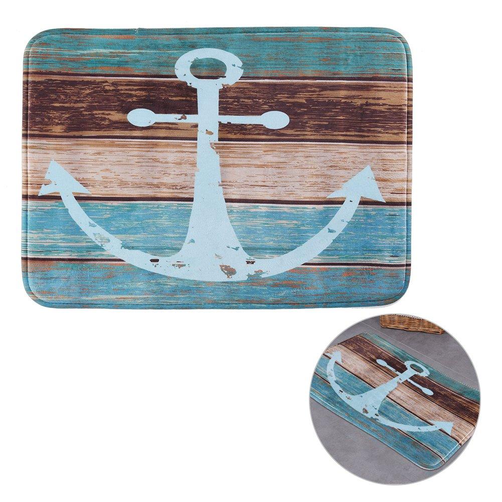 Anchor Bathroom Rug: Vintage Retro Nautical Anchor Decor Bathroom Rug Anti-slip