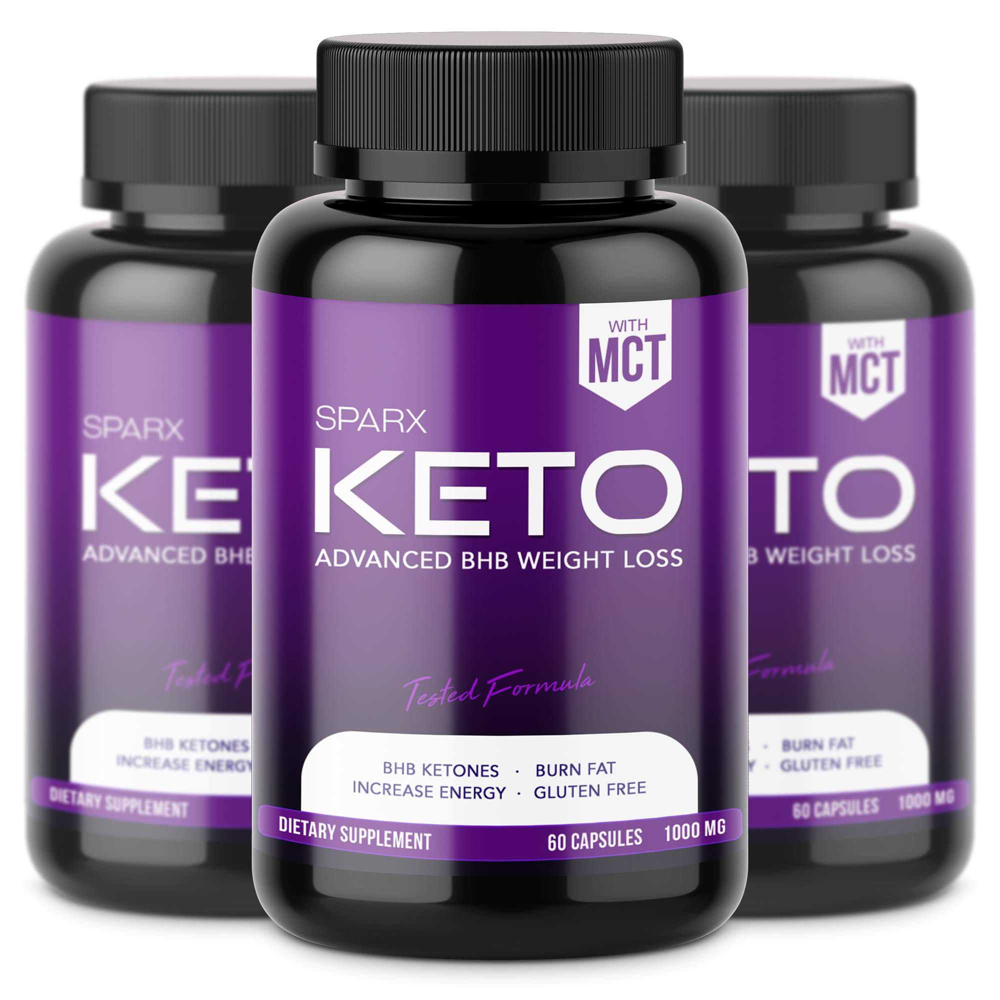 SPARX - (3 JAR) Keto BHB Exogenous Ketones 1000mg (90 Day Supply), Keto Fat Burner - Support Ketosis, Boost Energy, Enhance Focus, Perfect Keto Weight Loss Capsules, Beta-Hydroxybutyrate BHB Salts
