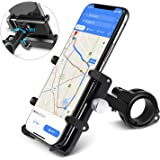 "HOMEASY Universal Bike Phone Mount Motorcycle Handlebar Cellphone Bicycle Holder Adjustable, Fits iPhone Xs|XS Max, XR, X, 8 | 8 Plus, Galaxy S9, Holds Phones from 3.5-7"" Wide【Fall Prevention】"