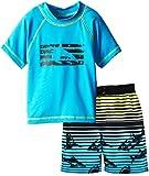 iXtreme Little Boys Shark Short Sleeve 2-Piece Rashguard Swim Trunk Set