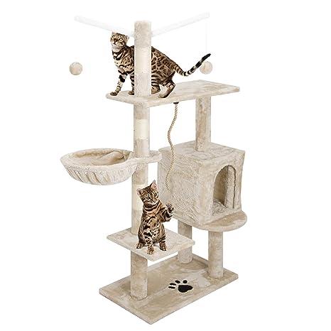 Eglemtek - Rascador para gatos con postes de sisal natural, cucha y juegos, altura