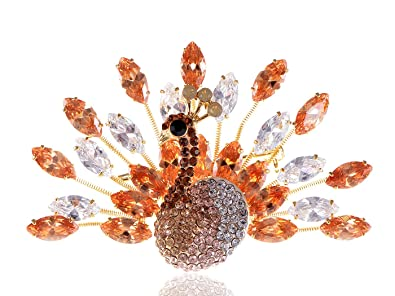 64dbb1ec9e6 Image Unavailable. Image not available for. Color: Alilang Vintage Inspired  Topaz Brown Swarovski Crystals Peacock Bird Brooch Pin