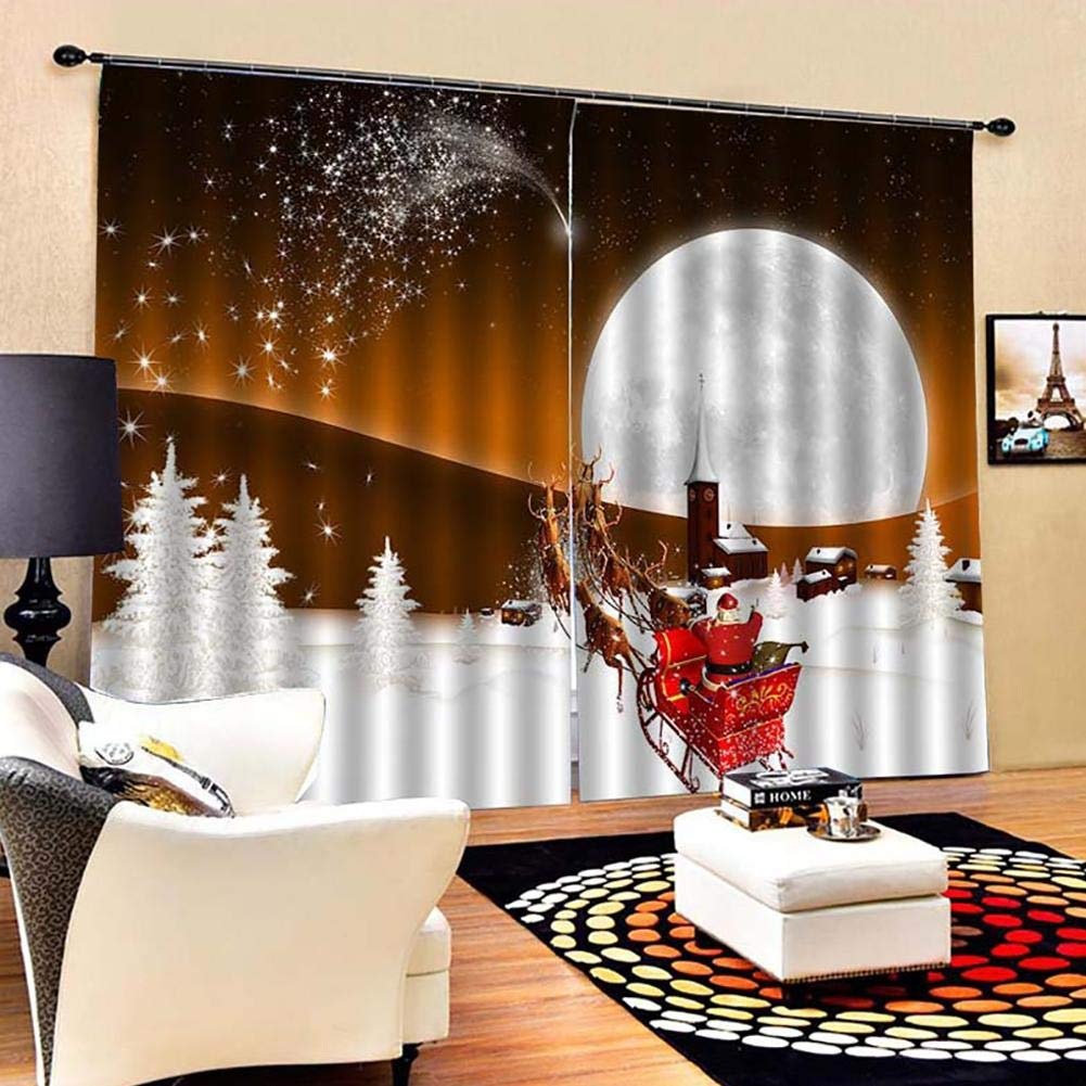 3D Christmas Bell Curtains,Christmas Curtain Panel for Bedroom//Living Room//Study