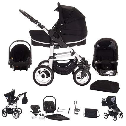 Bebebi Paris Carrito de bebé 3 en 1, neumáticos de caucho duro negro phantom