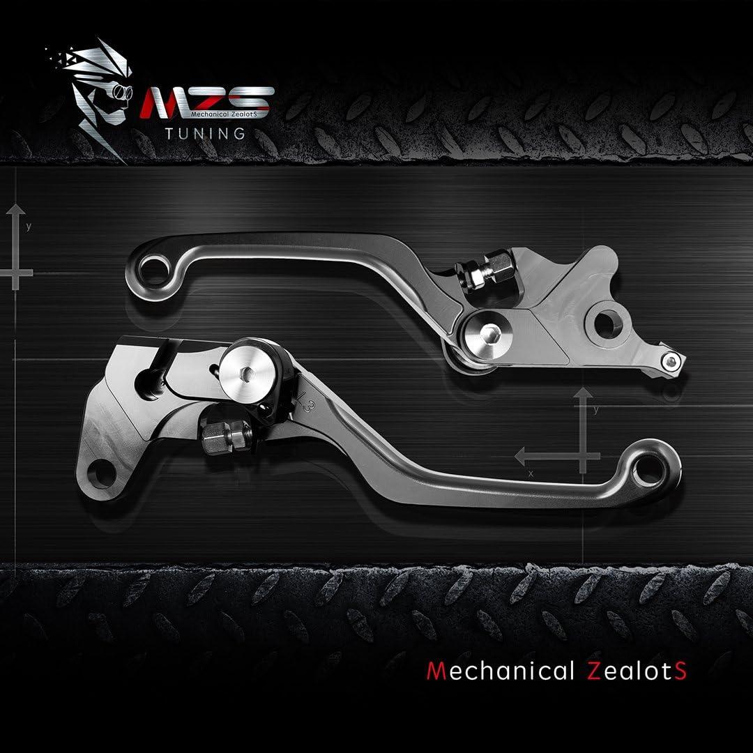 MZS Pivot Levers Brake Clutch CNC for Kawasaki KX65 2000-2019// KX85 2001-2019// KX100 2001-2019// KX125 2000-2005// KX250 2000-2004// KX250F 2004 Gray