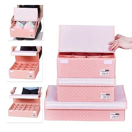 HOMESGU 3 Set Adjustable Storage Box Fabric Storage Bins Foldable Closet  Underwear Organizer Drawer Divider kit fe230e72d