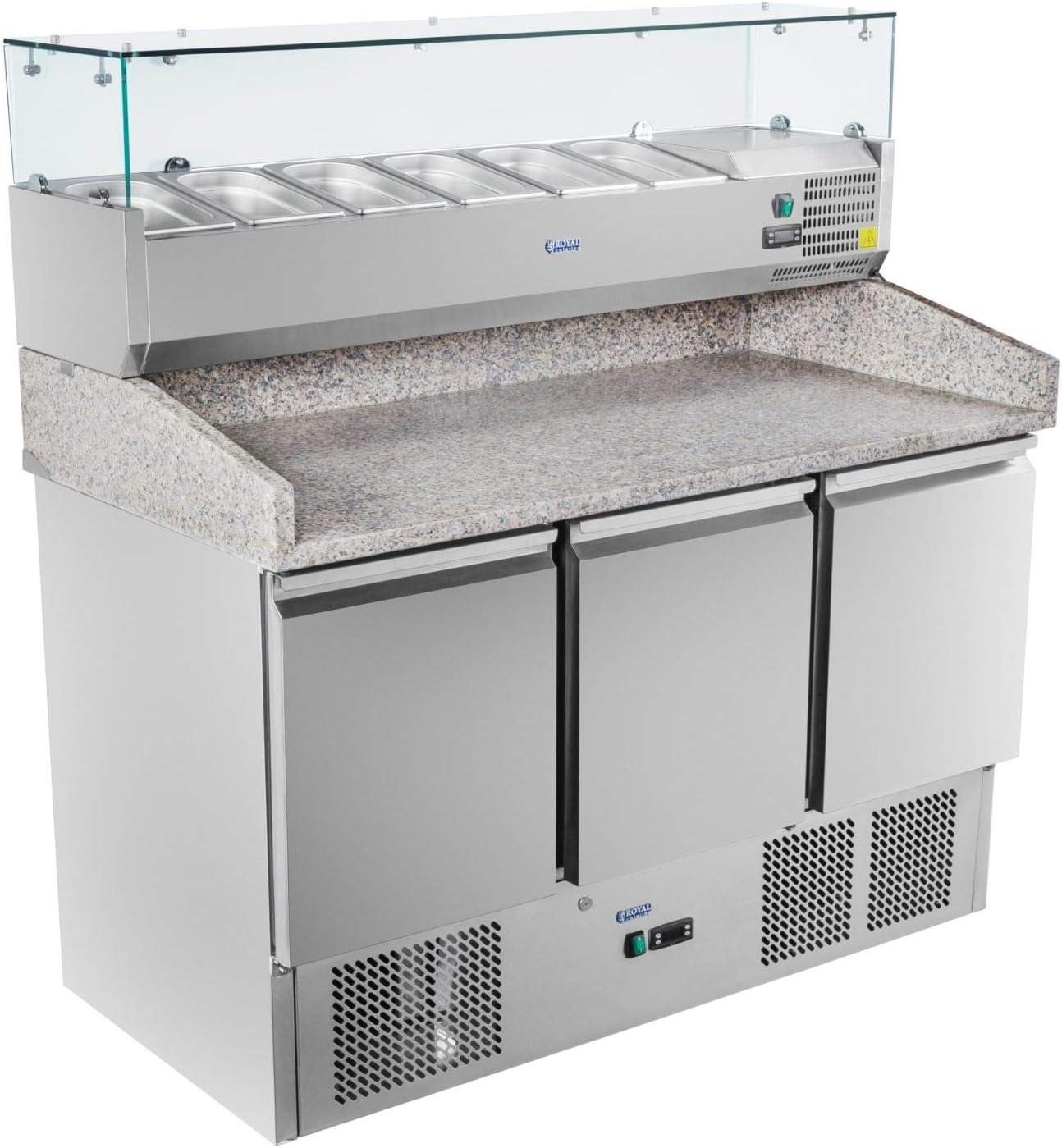 Royal Catering - RCKT-140/70-V - Bajomostrador refrigerado - 140x70cm - de granito - 380 l - 300 watt: Amazon.es: Hogar